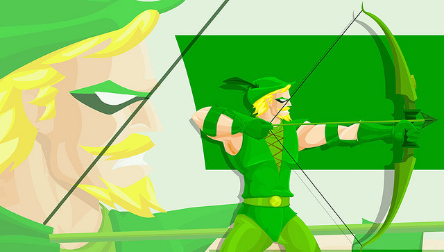 A cool cartoon art of Green Arrow