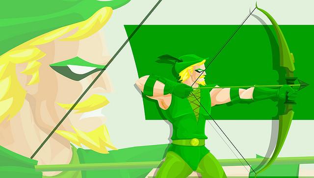 A cool cartoon art of Green Arrow