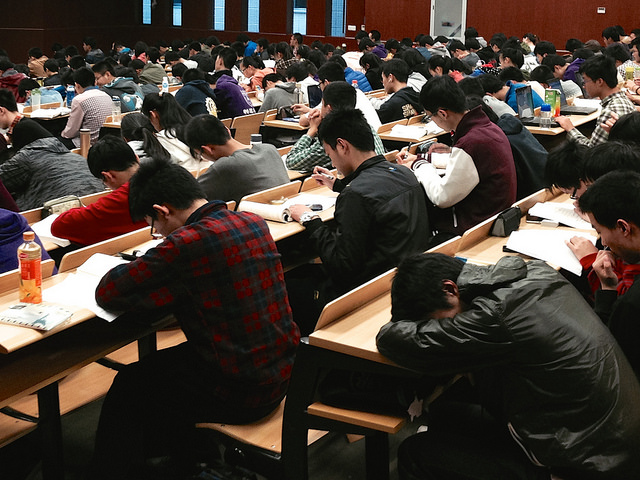 A picture of students bored in class