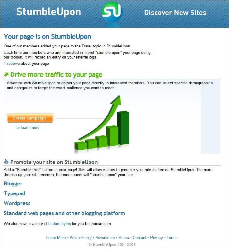 creating a campaign page for StumbleUpon