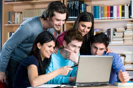 young people excited with the laptop