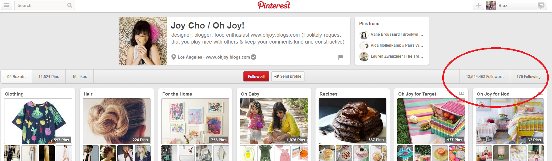 Joy Cho's pinterest account