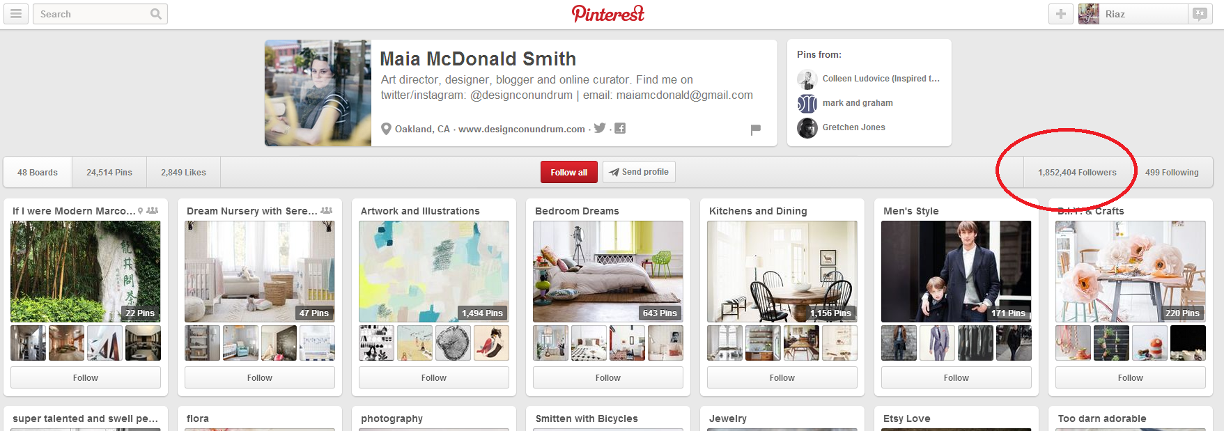 Maia McDonald's Pinterest Account