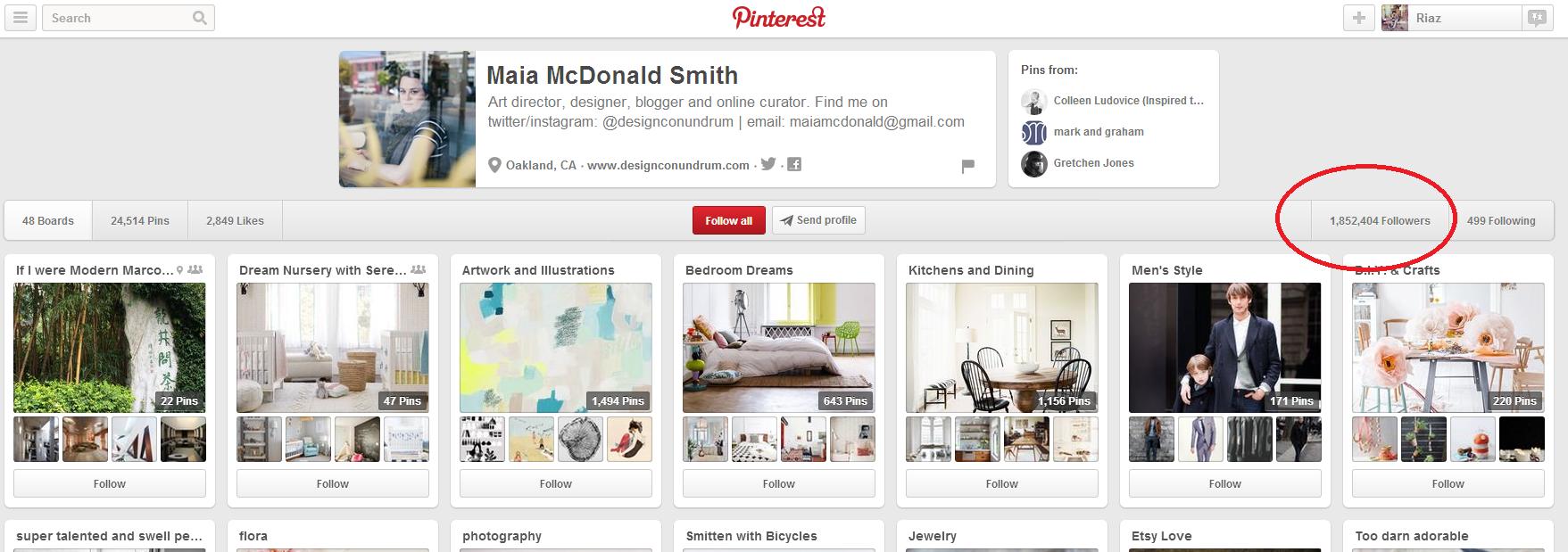 Maia McDonald's Pinterest Account