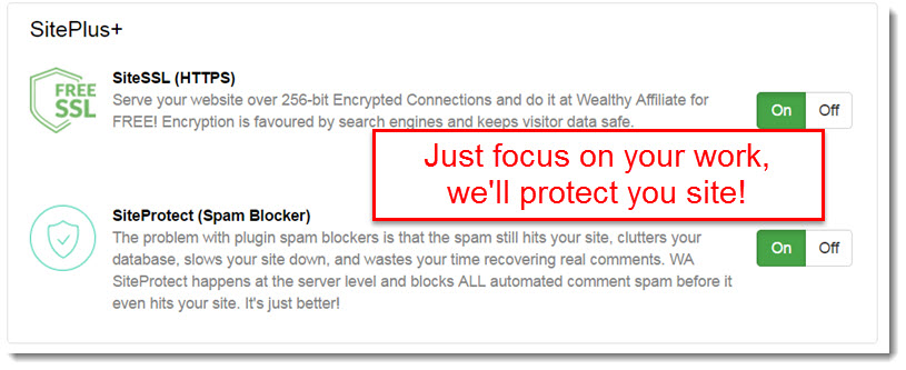 The new SiteProtect feature at wealthy Affiliate