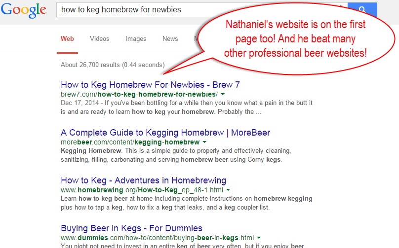 beer 7 on the first page of Google