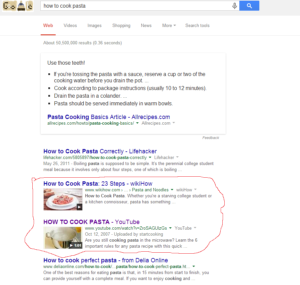 screenshot of how to cook a pasta result in Google search