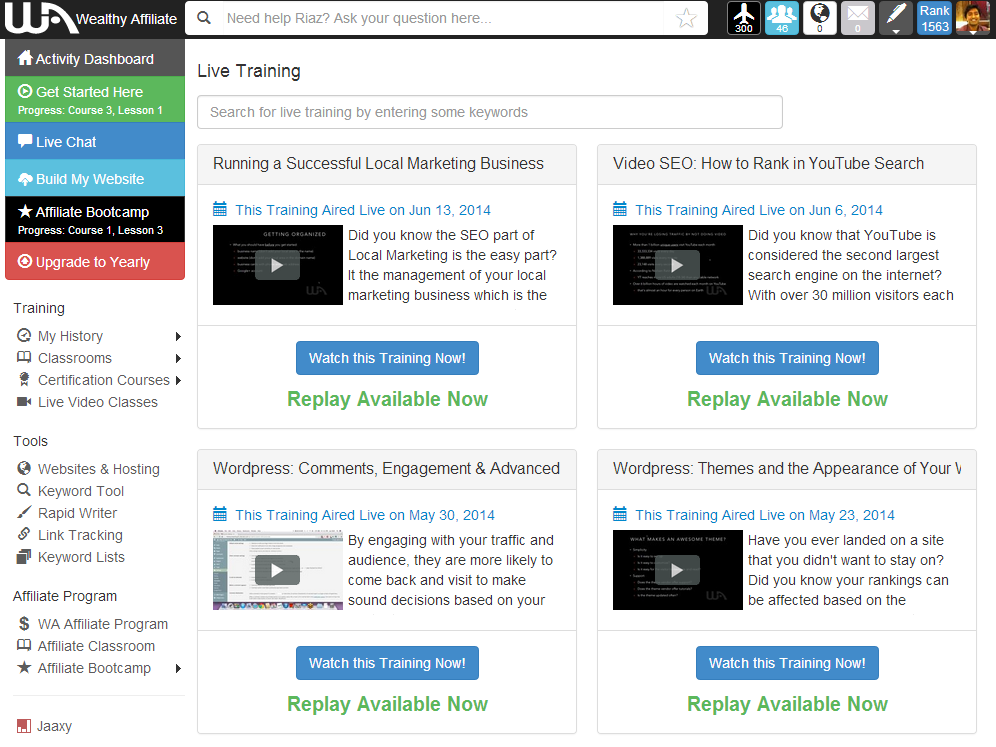 Wealthy Affiliate Live video classes