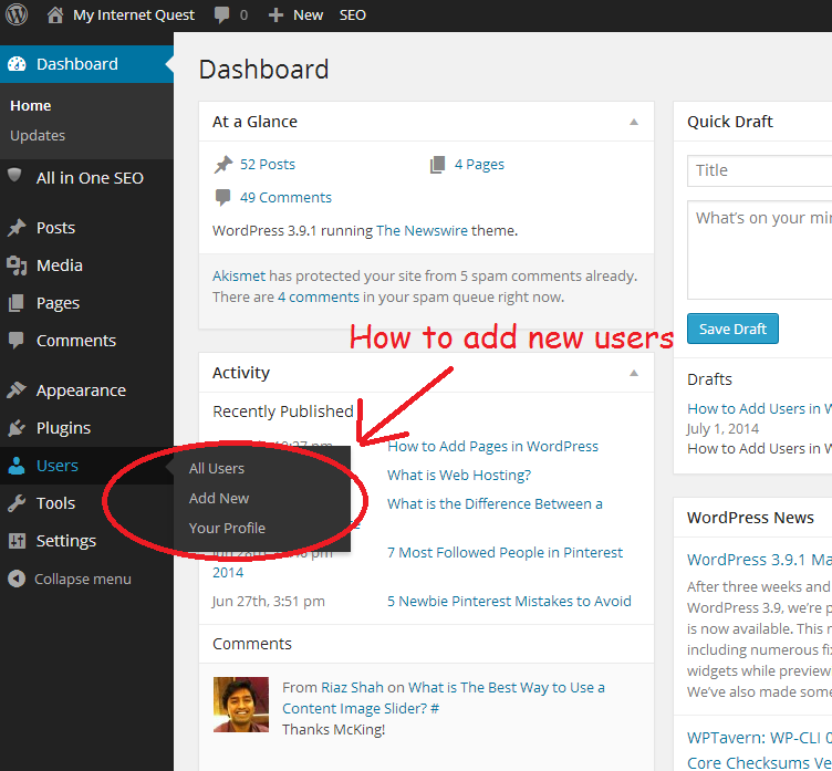WordPress New user screenshot