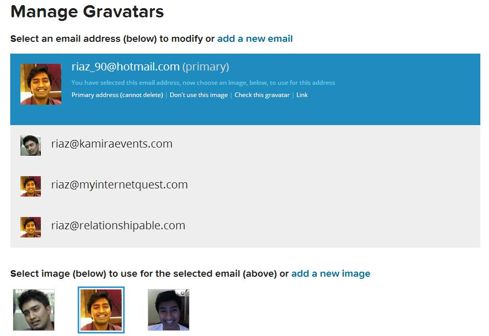 gravatar emails