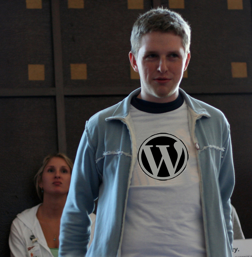 Wordpress logo on a guy