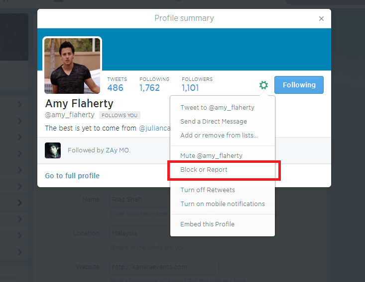 Block and report abuse a spammer in Twitter