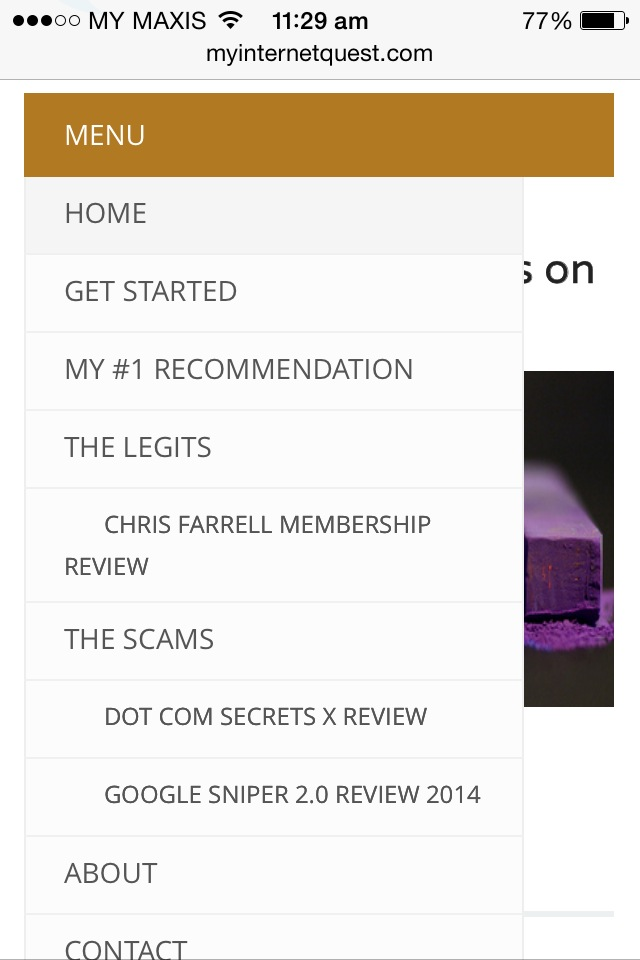 My Internet Quest page drop down from mobile phones