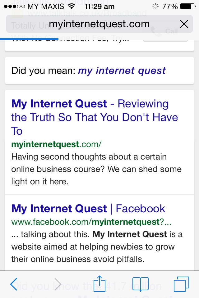 My Internet Quest Google search through mobile phones