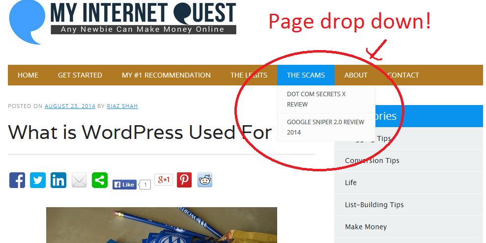 My Internet Quest page navigation