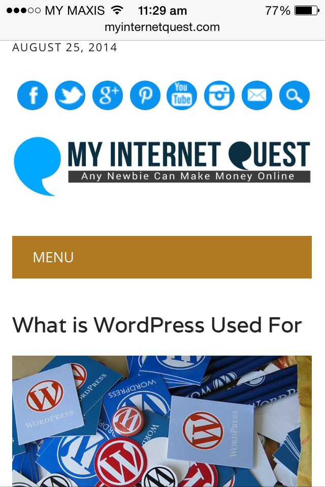 My Internet Quest home page through mobile