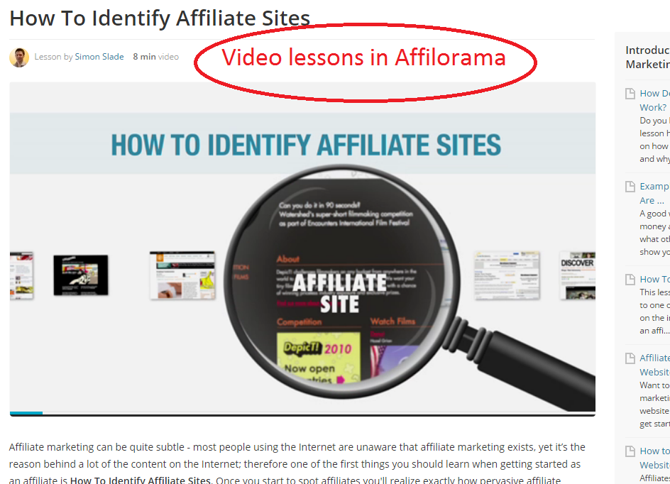 Affilorama video lesson