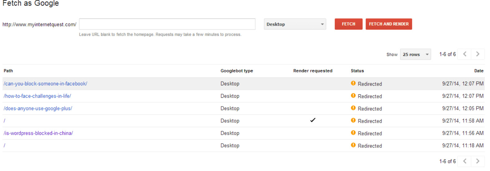 Fetch as Google redirected