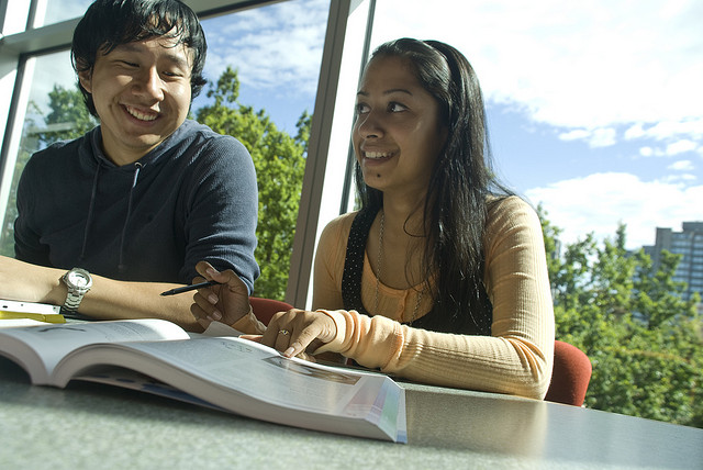students studying in college