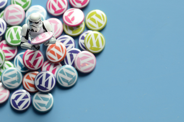 Stormtrooper holding WordPress pins