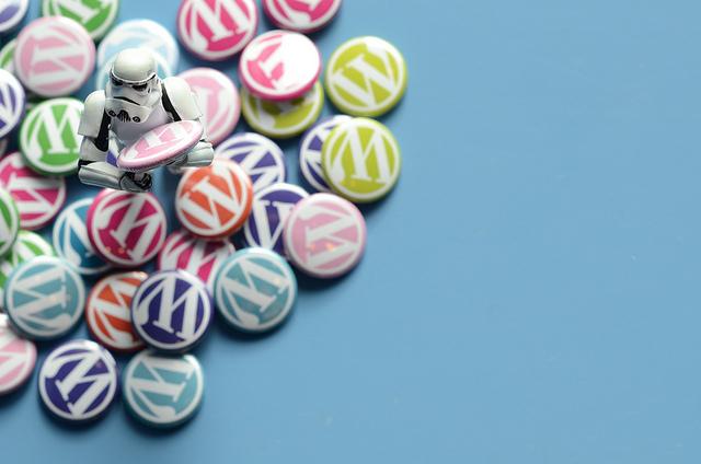 Stormtrooper holding WordPress pins