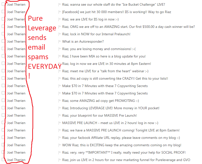 Joel Therien email spam