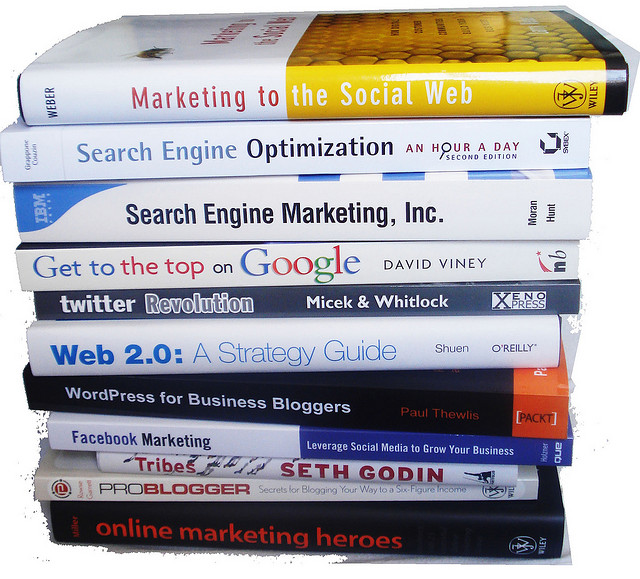 A pile of book about internet marketing
