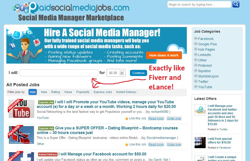 Paid Social Media Jobs marketplace