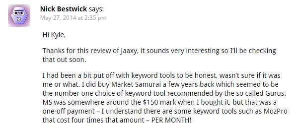 customer sharing his feedback on his Jaaxy experience