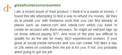 paid social media jobs complaint