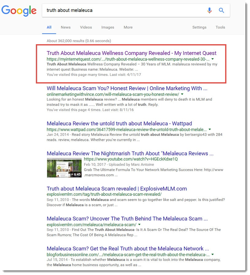 truth about melaleuca search results