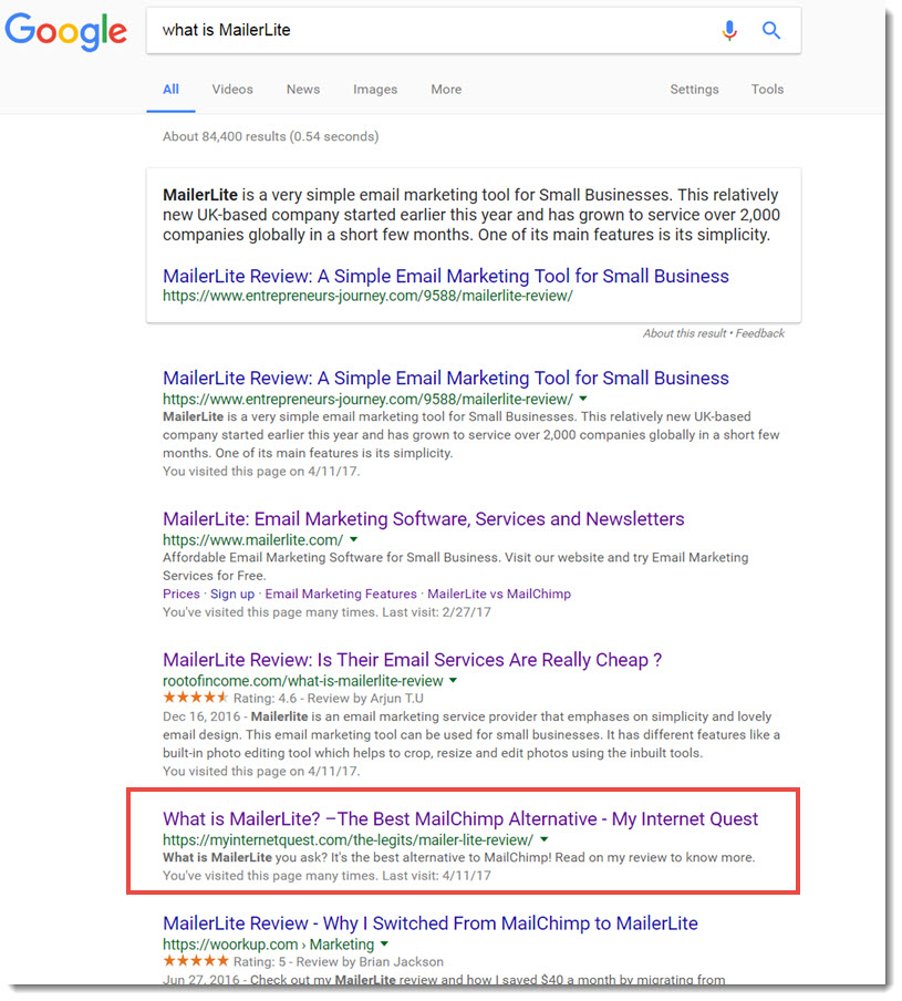 what is mailerLite google search results
