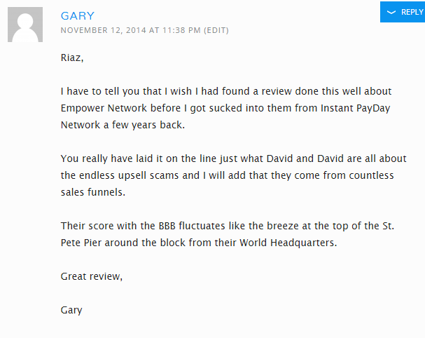Gary's unsatisfaction on Instant Payday Network