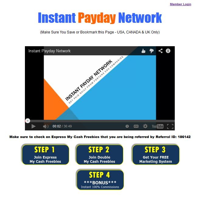 Instant Payday Network Home Page