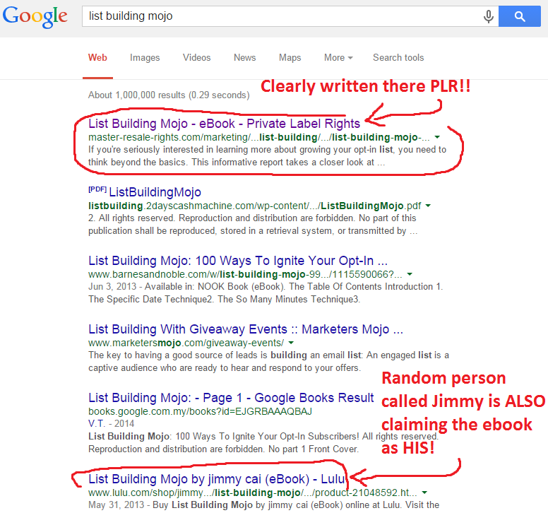 List Building Mojo on Google search