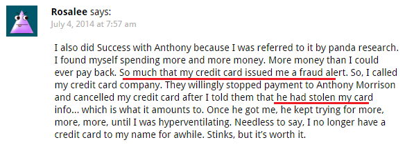 Success WIth Anthony customer complaint of credit card info steal
