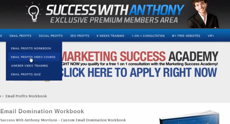 Success with anthony member's area