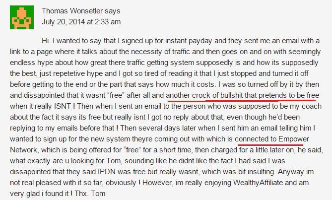 Unsatisfied Instant Payday Network customer being bullied