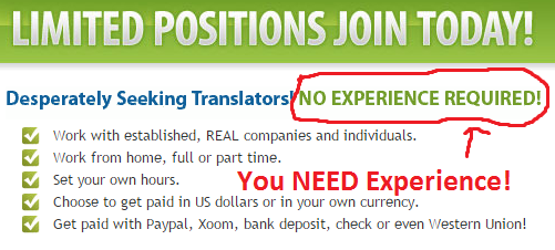 no experience required lie shown in Real Translator Jobs