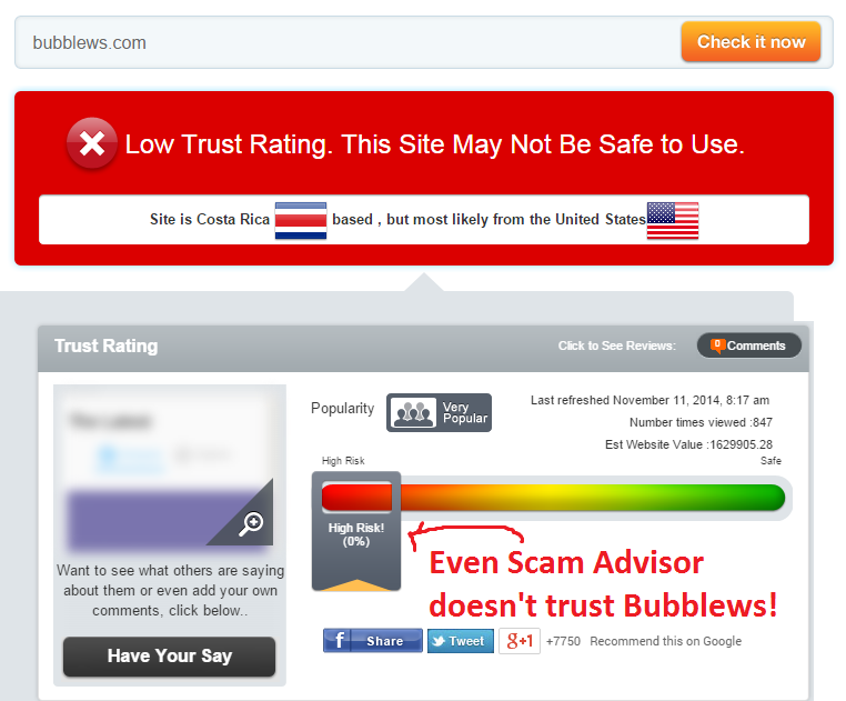 scam advisor rates Bubblews zero