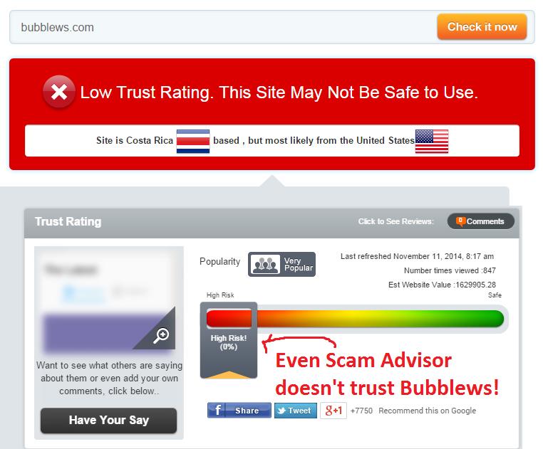 scam advisor rates Bubblews zero