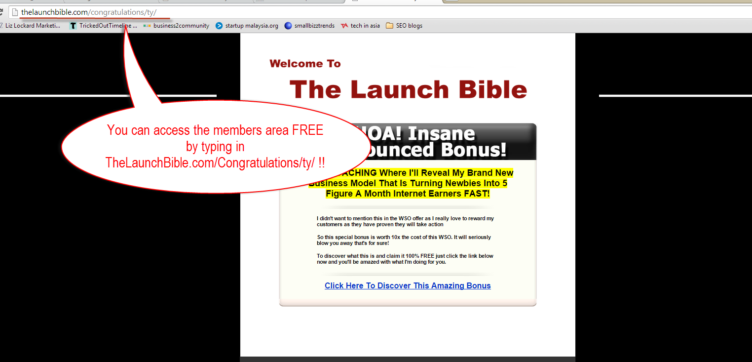 Anyone can access the member's area of The lauch bible
