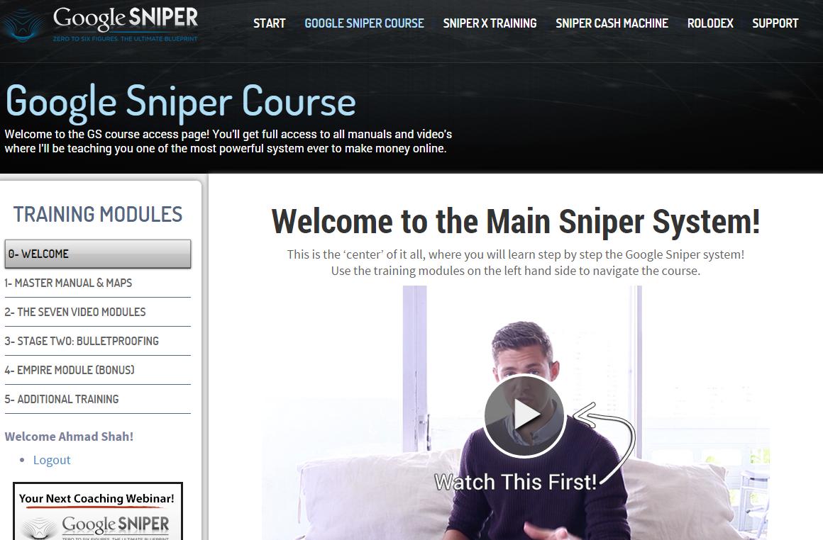 Google Sniper 3.0 Members area