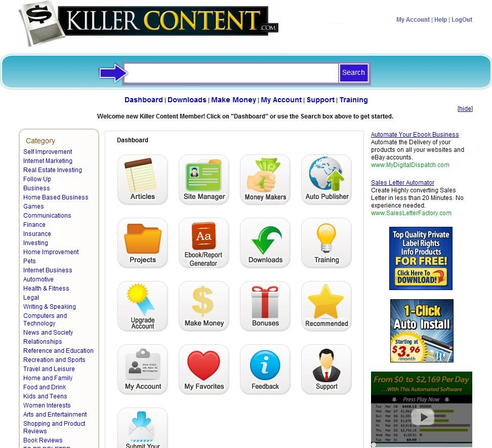 Killer content System members area