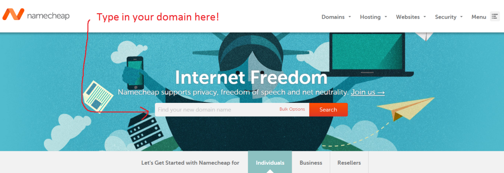 Namecheap home page