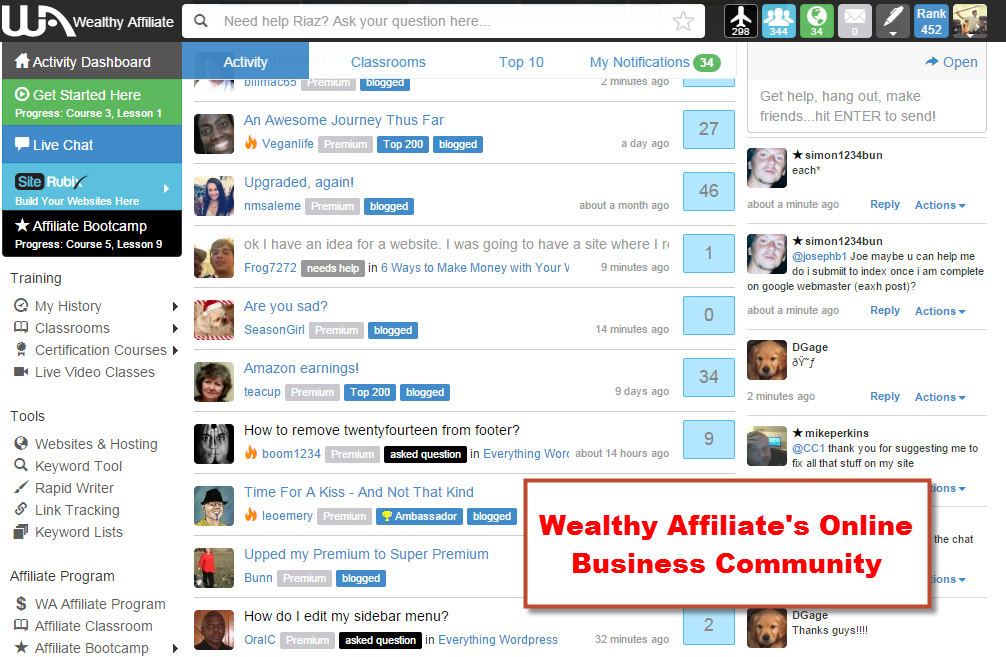 Wealthy Affiliate's online business community