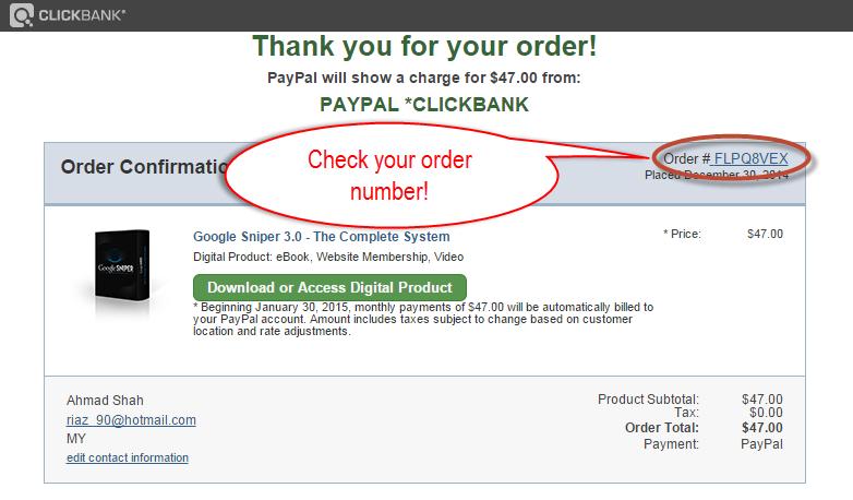 ClickBank Order Number