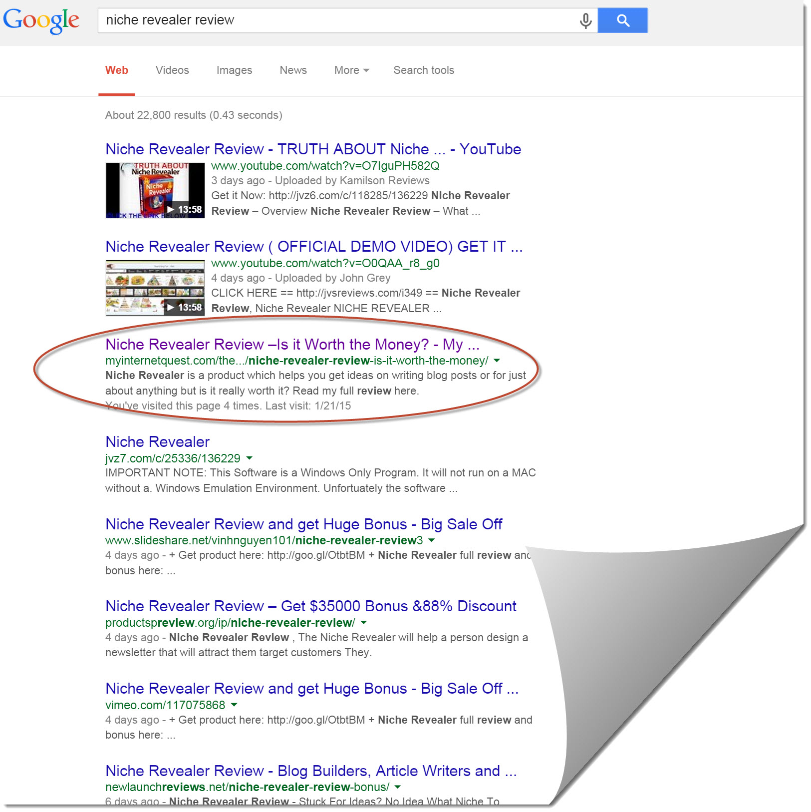 Google Search results for Niche Revealer Review