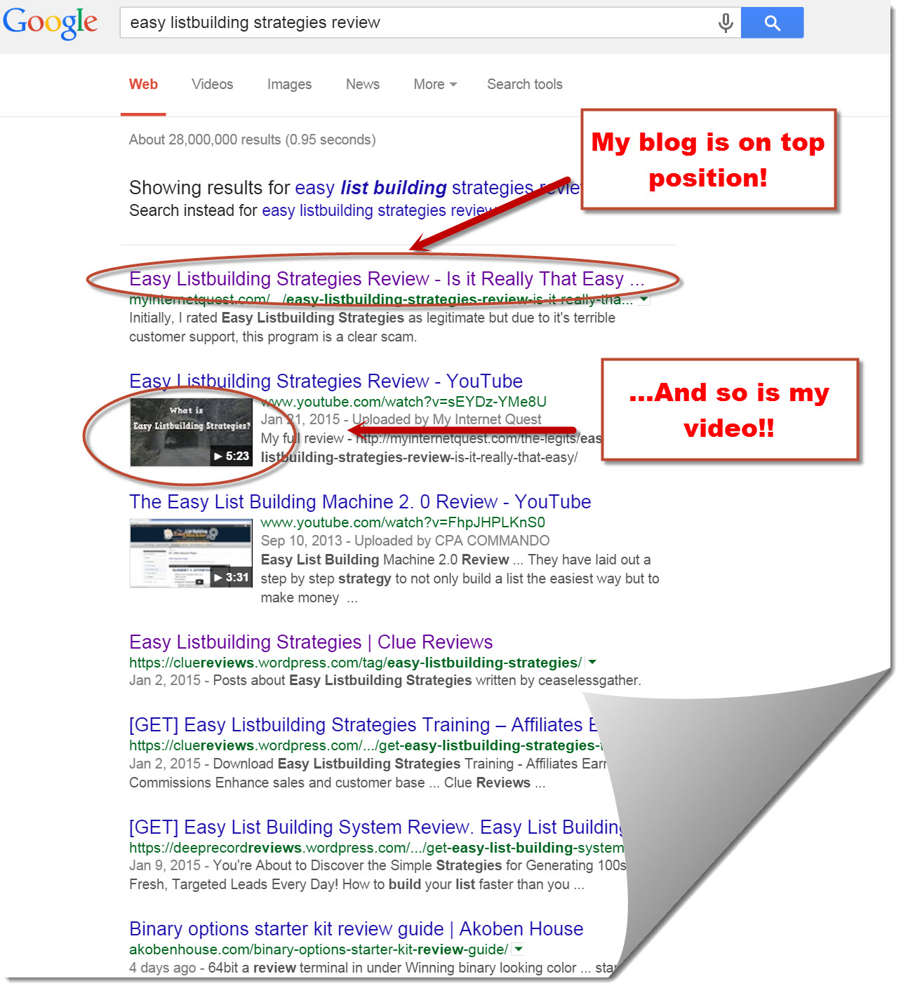 Google search results for easy listbuilding strategies