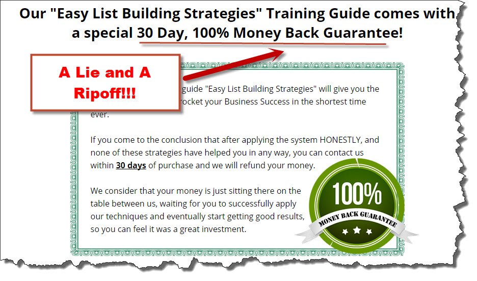 Listbuilding strategies' money back guarantee